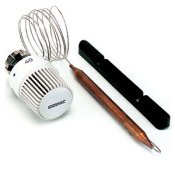 THERMOSTATIC HEAD WITH LIQUID REMOTE CONTACT SENSOR AND COPPER HOLDER