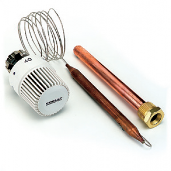 THERMOSTATIC HEAD WITH LIQUID REMOTE IMMERSION SENSOR AND COPPER HOLDER